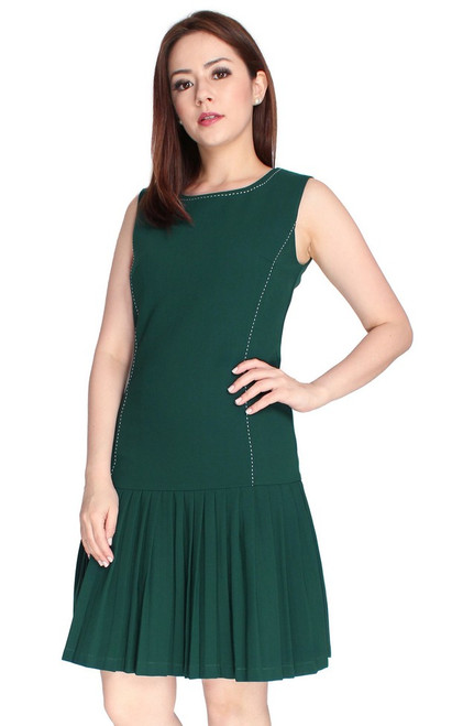Pleated Drop Waist Dress - Forest Green