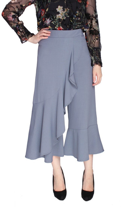 Ruffled Overlay Culottes - Dusty Blue