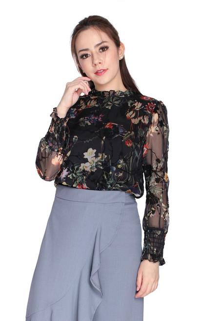 Floral Velvet Chiffon Top - Black