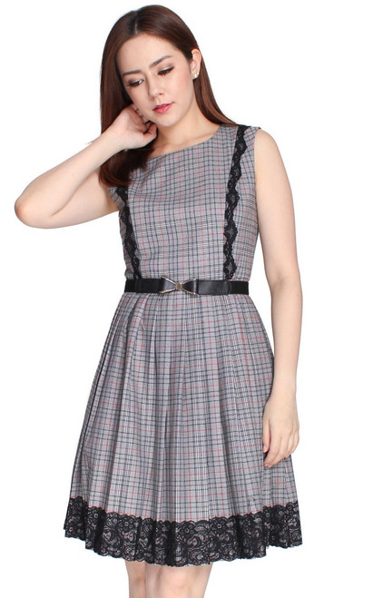 Checkered Pleated Dress