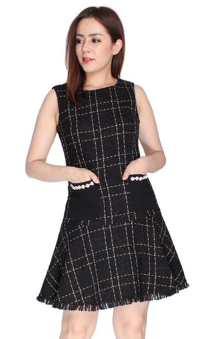 Tweed Mermaid Dress - Black