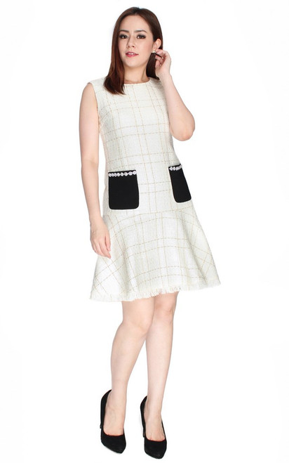 Tweed Mermaid Dress - Milky White