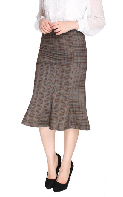 Checkered Flute Hem Skirt - Brown