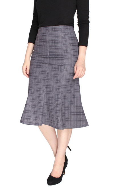 Checkered Flute Hem Skirt - Black
