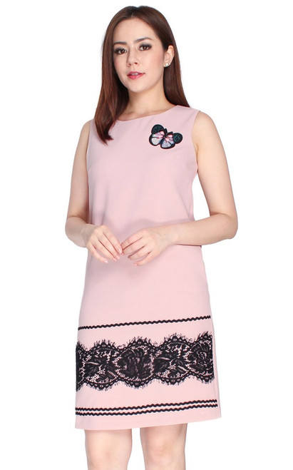 Lace Hem Shift Dress - Dusty Pink