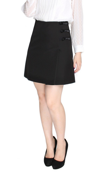 Side Ribbons Skirt - Black