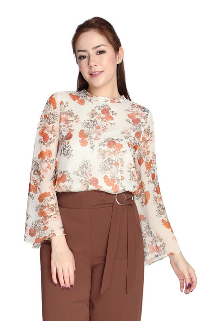 Floral Trumpet Sleeves Top - Cream