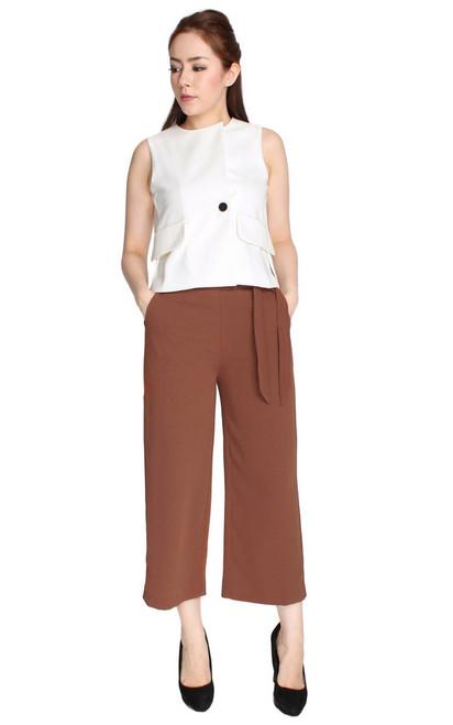 Button Vest Top - White