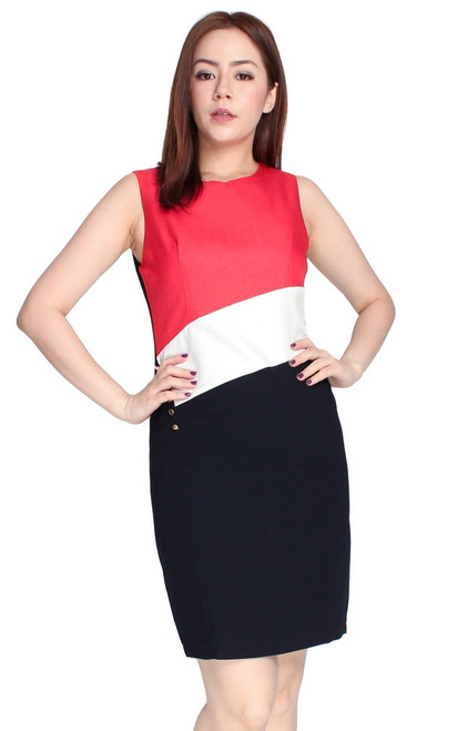 Side Buttons Colourblock Dress - Red