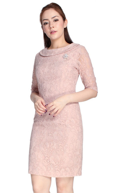 Lace Boat Neck Pencil Dress - Blush