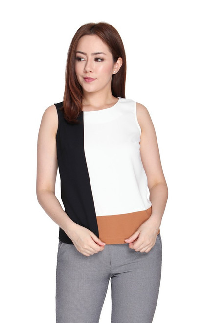 Colourblock Overlay Top - White