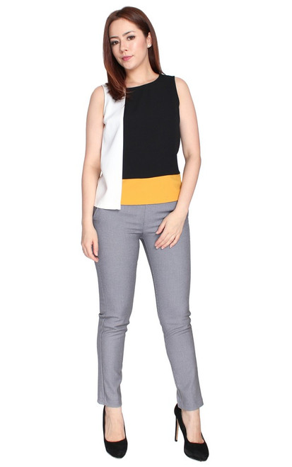 Colourblock Overlay Top - Black