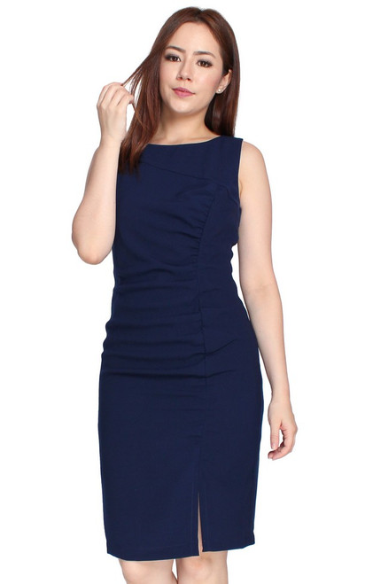 Ruched Pencil Dress - Navy