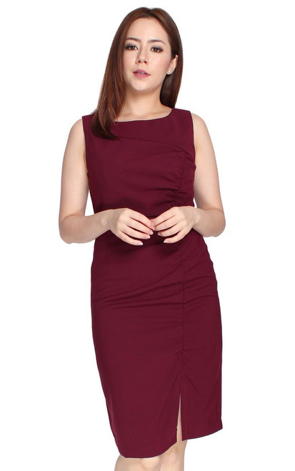 Ruched Pencil Dress - Burgundy