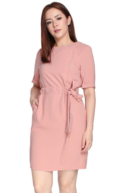 Drawstring Waist Dress - Dusty Pink