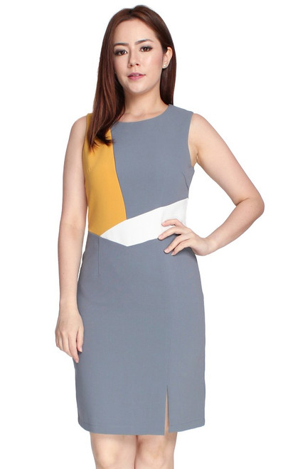 Colourblock Pencil Dress - Grey
