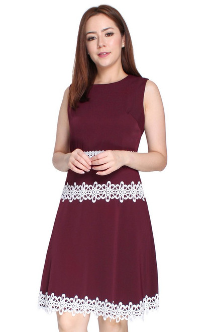 Crochet Trim Flare Dress - Wine