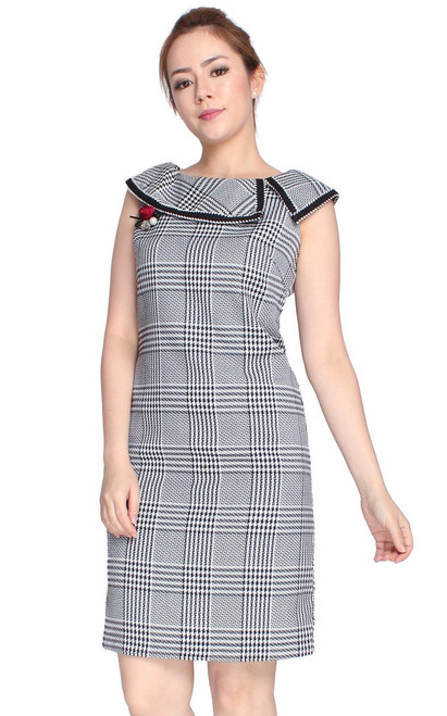 Checkered Boat Neck Dress