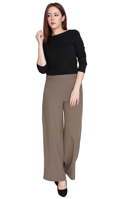 Side Chain Wide Leg Pants - Taupe