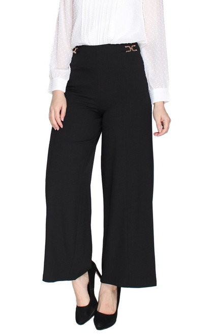 Side Chain Wide Leg Pants - Black