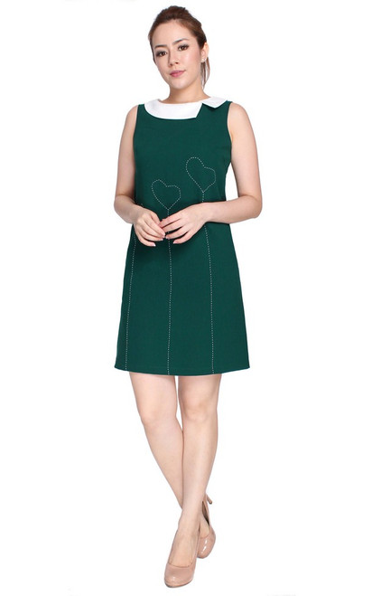 Contrast Stitch Shift Dress - Forest Green