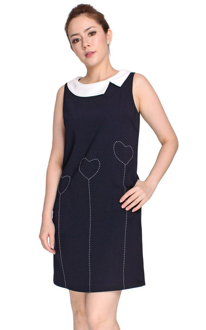 Contrast Stitch Shift Dress - Midnight Blue