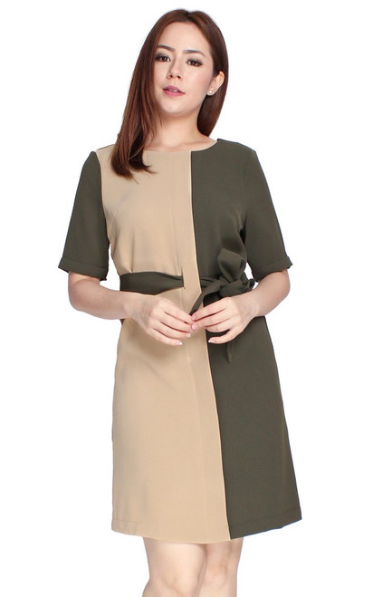 Colourblock Tie Waist Dress - Olive
