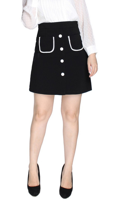 Contrast Buttons Skirt - Black