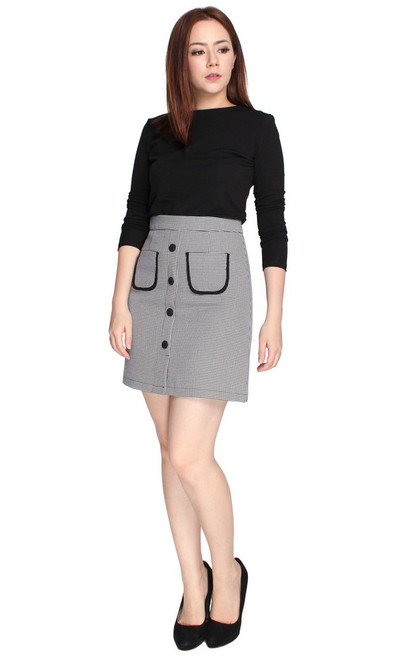 Contrast Buttons Skirt - Houndstooth