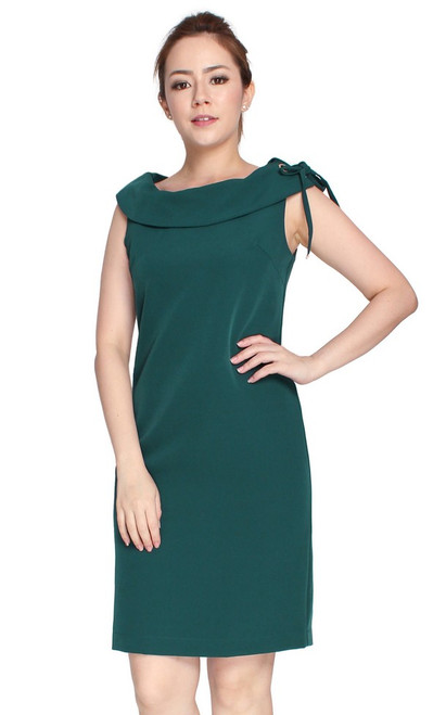 Boat Neck Shift Dress - Forest Green
