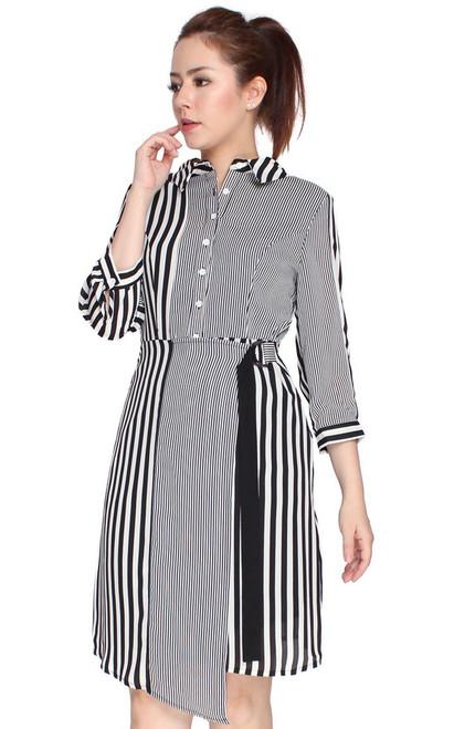 Mixed Stripes Shirt Dress