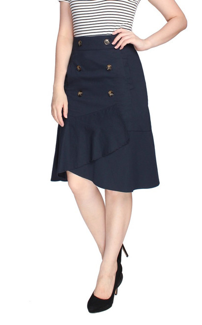 Trench Ruffled Skirt - Navy