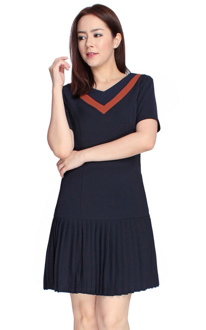 Varsity Pleated Drop Waist Dress - Midnight Blue