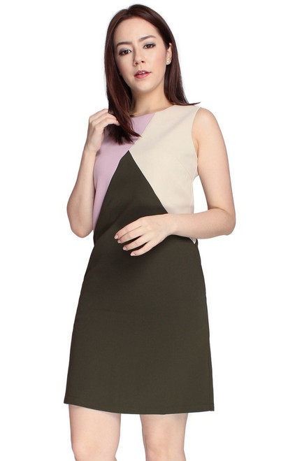 Colourblock Shift Dress - Olive