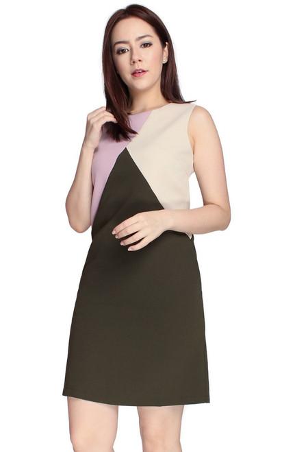 Colourblock Shift Dress - Olive
