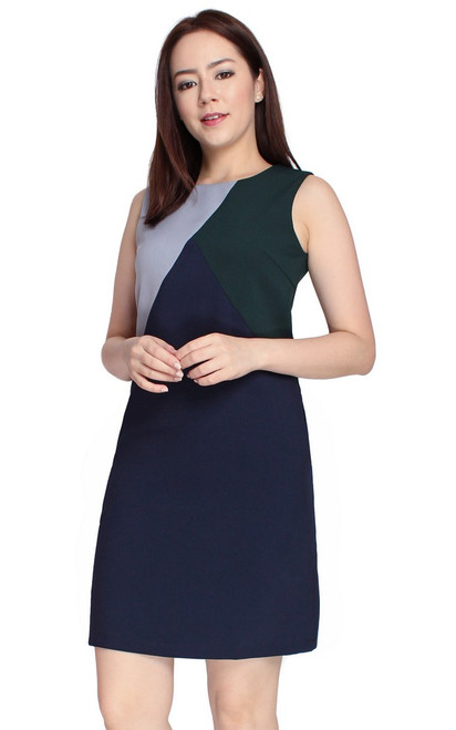 Colourblock Shift Dress - Navy