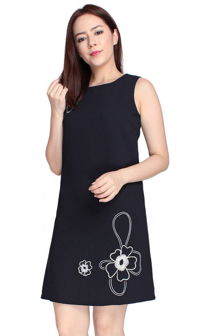 Floral Motif Shift Dress - Midnight Blue