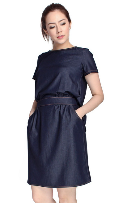 Demi-Tucked Chambray Dress