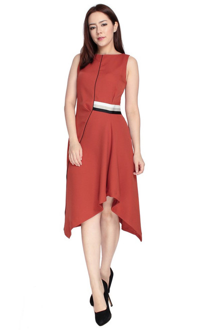 Asymmetrical Drape Dress - Sienna