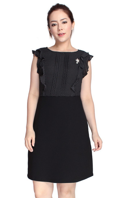 Dotted Ruffle Top Dress - Black