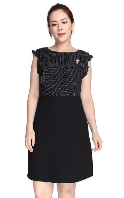 Dotted Ruffle Top Dress - Black