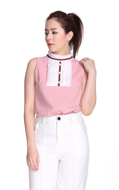 Victorian High Collar Top - Pink