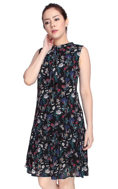 Floral Drop Waist Dress - Black