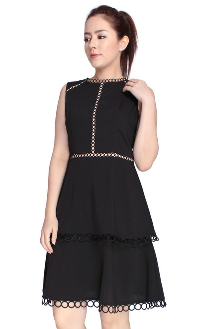 Eyelet Trim Tiered Dress - Black