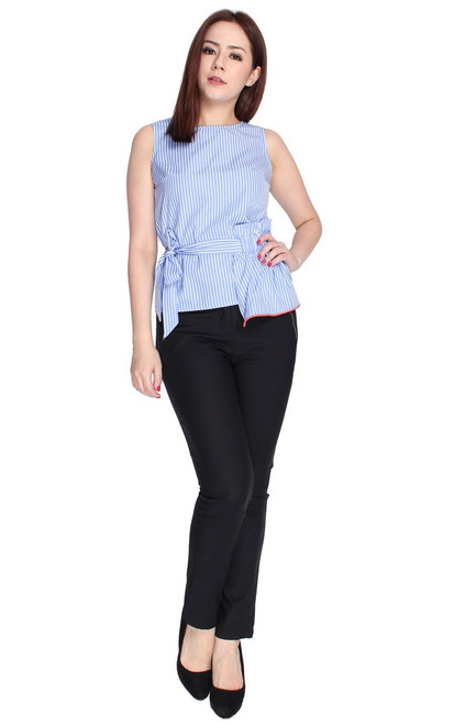 Asymmetrical Waist Tie Top - Light Blue