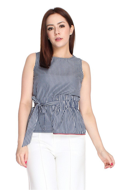Asymmetrical Waist Tie Top - Navy