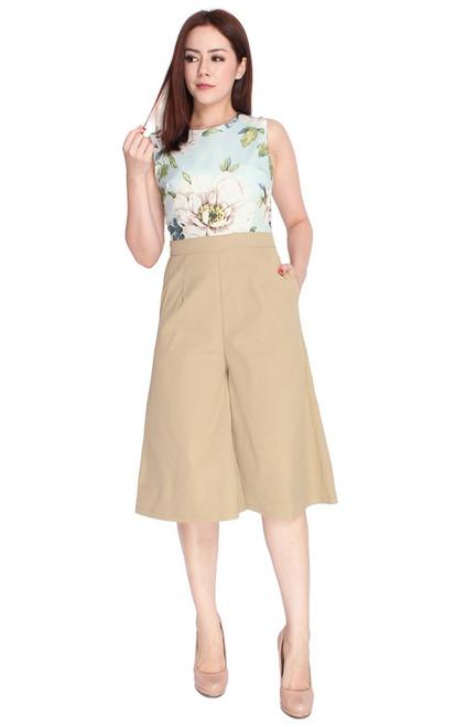 Floral Top Culottes Jumpsuit