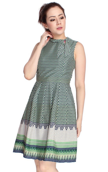 Mosaic Print Dress - Green