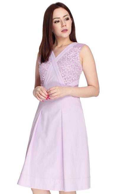 Crochet Panel Flare Dress - Lilac