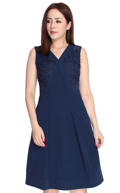 Crochet Panel Flare Dress - Navy